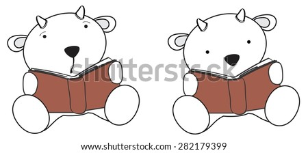 cute little goat reading cartoon set in vector format very easy to edit - stock vector