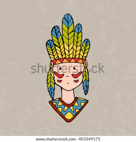 Cute little indian boy with handband and feathers. Vector illustration - stock vector