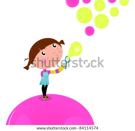 Cute little Kid blowing Soap bubbles isolated on white Lovely little Girl blowing Soap bubbles in the Air. Vector cartoon Illustration. - stock vector