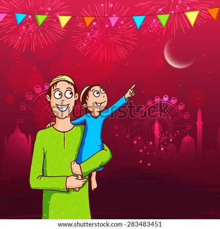Cute little kid in his father's lap pointing towards the moon for Islamic festival, Eid Mubarak celebration on shiny mosque and crackers decorated background. - stock vector