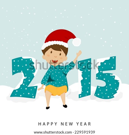 Cute little kid in Santa's cap with stylish text 2015 covered by snow, Merry Christmas and Happy New Year celebrations. - stock vector