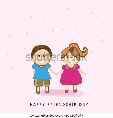 Cute little kids holding hands together on right pink background for Happy Friendship Day celebrations.