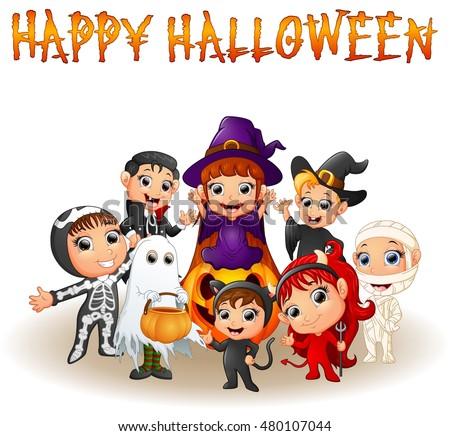 cute little kids wearing halloween costumes vector