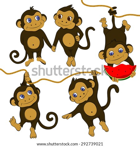 Cute little monkey hanging from a branch illustration isolated on white background - stock vector