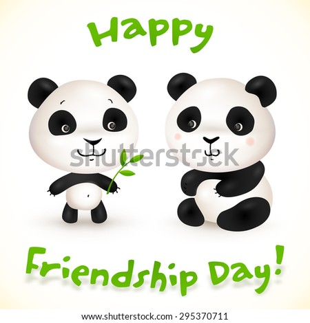 Cute little pandas friends, vector illustration - stock vector
