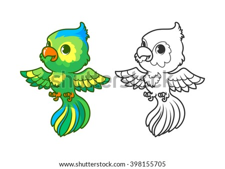 Cute little parrot. Cartoon vector character isolated on a white background with black outline. - stock vector