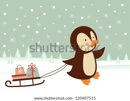 Cute little penguin bringing a sledge  with presents - stock vector