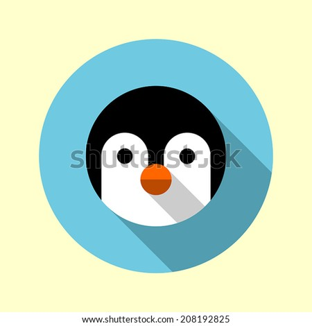 Cute little penguin icon. Flat long shadow design. Animal icons series. - stock vector