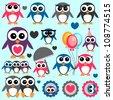 Cute little penguins set - stock vector