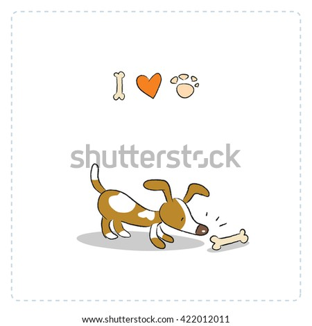 Cute little pet, puppy, I love dogs card. Doodle style, sketchy vector illustration.  - stock vector