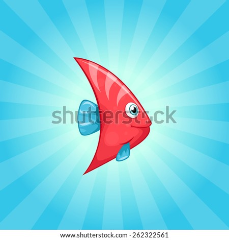 Cute little pink fish with blue fins - stock vector