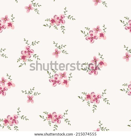cute little pink flowers seamless pattern background. vector - stock vector