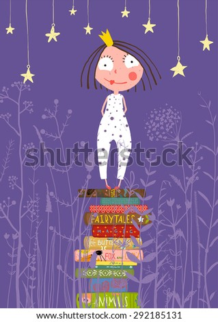 Cute Little Princess Girl Standing on Stack of Books in Pajamas. Child reading fairy tales before going to sleep fairy tale illustration. - stock vector
