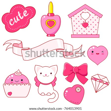 Cute little princess sticker set - cat, heart, nail polish, cupcake, bow, diamond, small house, ribbon, inscription so cute. In pink color. EPS8