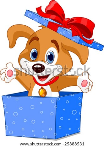 Cute little puppy jumping out from a gift box - stock vector