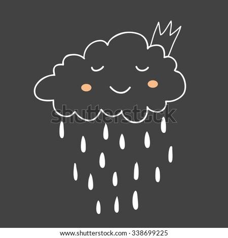 Cute little raining princess cloud. Vector illustration - stock vector