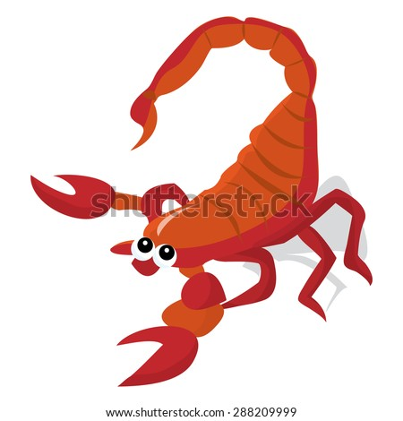 Cute Little Red Cartoon Scorpion Vector Stock Vector ...