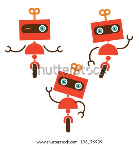 Cute little robot characters - stock vector