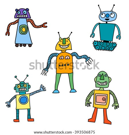 Cute little Robots Collection - for your design in vector - stock vector