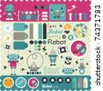 cute little robots stickers elements for scrapbook - stock vector
