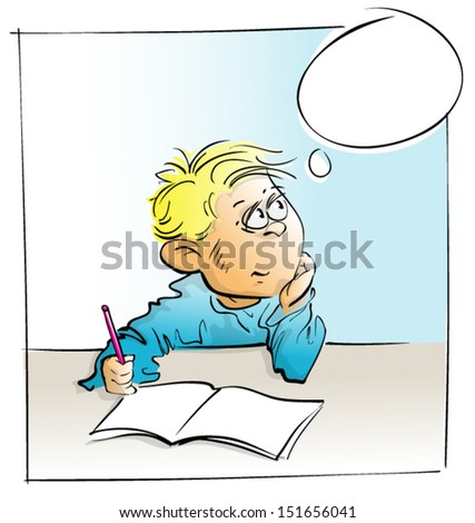 cute little school boy sitting at the desk, thinking, dreaming, simple freehand loose style, blank bubble - stock vector