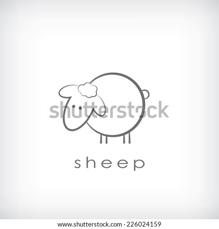 Cute little sheep symbol in simple outlines. Eps10 vector illustration - stock vector