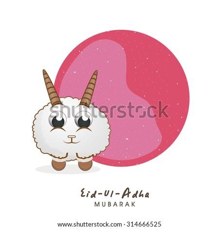 Cute little sheep with stylish blank frame for Islamic Festival of Sacrifice, Eid-Ul-Adha celebration. - stock vector