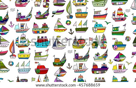 Cute little ships, seamless pattern for your design - stock vector