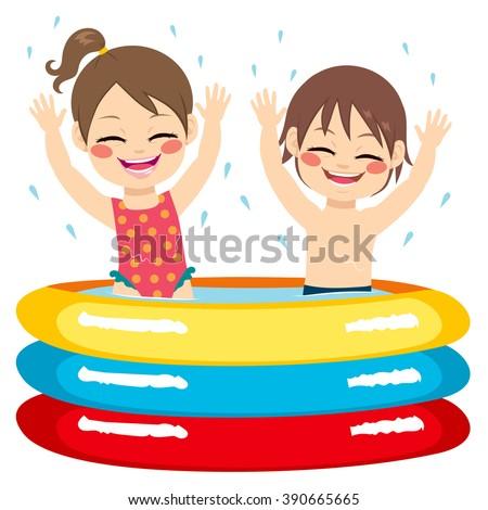 Cute little siblings children having fun on inflatable pool - stock vector