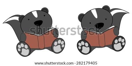 cute little skunk reading cartoon set in vector format very easy to edit - stock vector