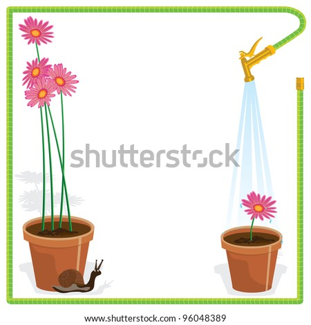 Cute little snail and flower pots with pink daisies and a watering hose makes a frame for this elegant yet fun garden party invitation. Great for a Bridal Shower or luncheon. - stock vector
