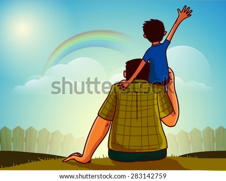 Cute little son sitting on his father's shoulder on nature background for Happy Father's Day celebration concept. - stock vector