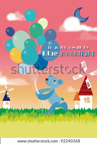 Cute little Teddy Bear and a bunch of Balloons on pink sky background - stock vector