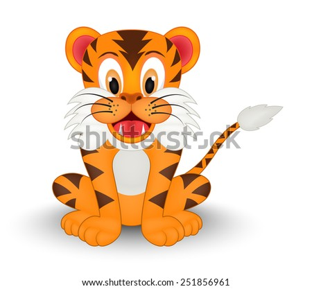 Cute Little Tiger - stock vector