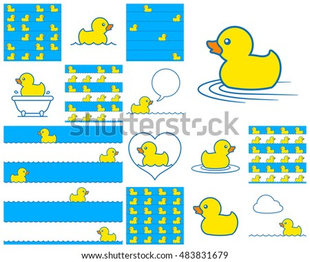 Cute little toy rubber duck icon collection swimming in a bathtub, on blue, on stripes with a speech bubble and heart for design elements and seamless vector patterns