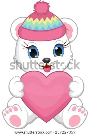 Cute little white bear wearing a winter hat, holding a heart. - stock vector