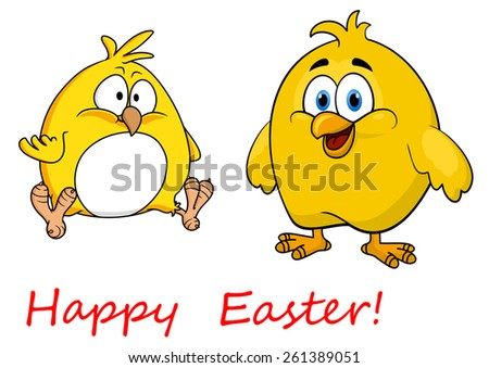 Cute little yellow cartoon Happy Easter chicks one standing smiling and one sitting - stock vector