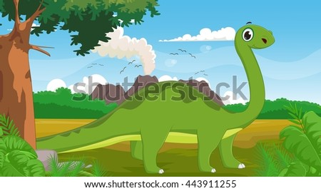 cute long neck dinosaur with background