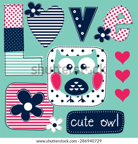 cute love card with owl vector illustration - stock vector
