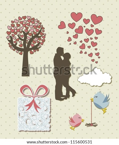 cute love elements, vintage style. vector illustration - stock vector