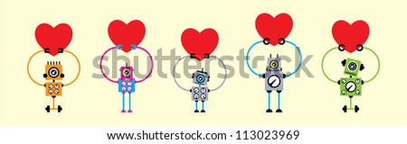 cute love robot collection - stock vector