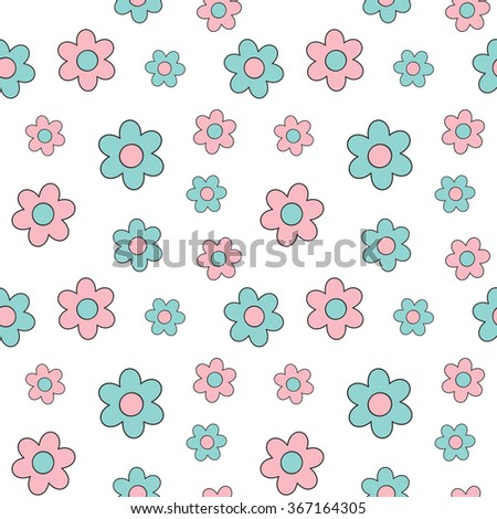 cute lovely pink and blue cartoon daisy flowers seamless vector background illustration - stock vector