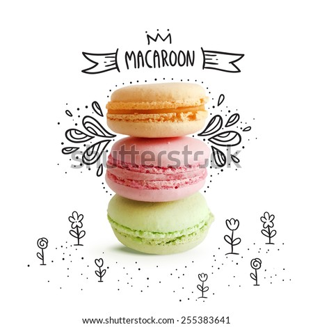 Cute macaroon with doodles.  Vector food image - stock vector