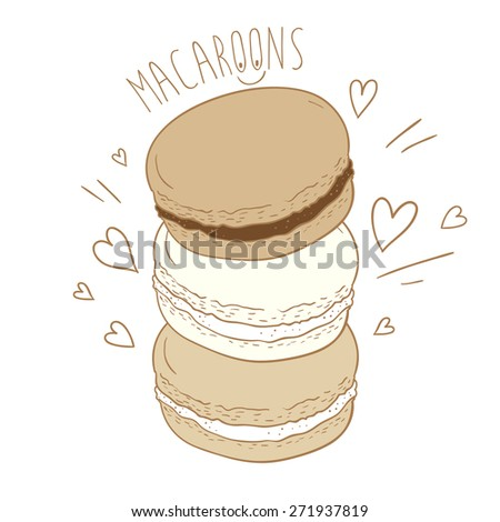 Cute macaroon with doodles. Vector illustration. - stock vector