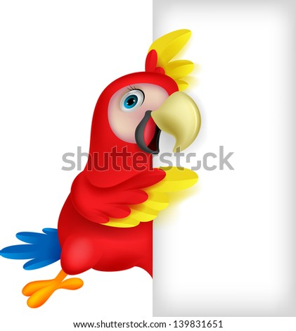 Cute macaw with blank sign - stock vector