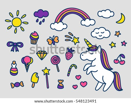 Cute magic set of stickers pins patches in cartoon doodle style for print with