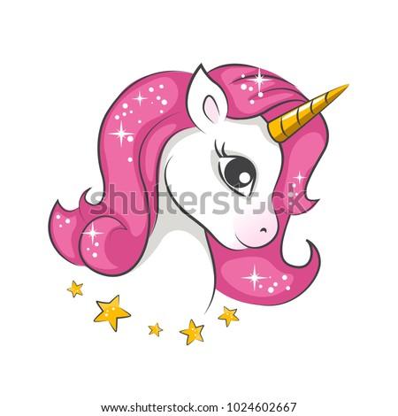 Cute Magical Unicorn Vector Design On Stock Vector ...