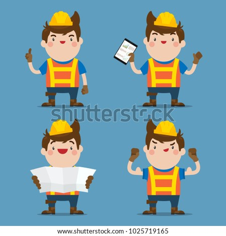 Cute Male Construction Worker 4 action set, Flat Vector Style Character.