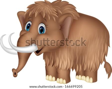 Cute mammoth cartoon - stock vector