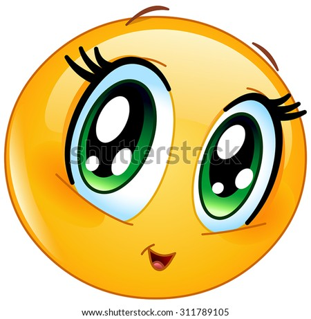 Cute manga girl emoticon - stock vector